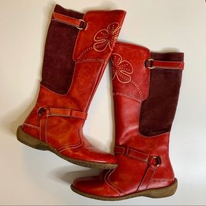 """Spring step """"welcome"""" red leather zip boots 38"""